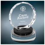 Round Crystal with Black/Clear Base Black Optical Crystal Awards