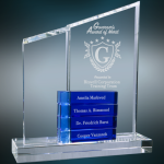 Crystal Perpetual Stand-up with Four Blue Blocks Blue Optical Crystal Awards