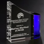 Faceted Wave Blue Optical Crystal Awards