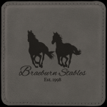 Leatherette Square Coaster -Gray Boss Gift Awards