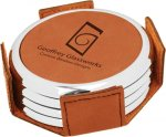 Leatherette Round Coaster Set with Silver Edge -Rawhide Boss Gift Awards