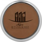 Leatherette Round Coaster with Silver Edge -Dark Brown Boss Gift Awards