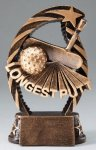 Golf Longest Putt Resin Trophy Bronze and Gold Star Resin Trophy Awards