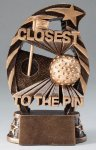 Golf Closest to the Pin Resin Trophy Bronze and Gold Star Resin Trophy Awards