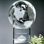Stratus Globe Clear Optical Crystal Awards