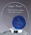Crystal Blue Round Corporate Crystal Awards