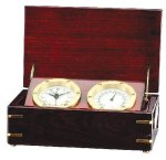 Clock and Thermometer in Rosewood Piano Finish Box Desk Clocks