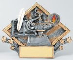 Resin Diamond Plate -Lamp Of Knowledge Education Trophy Awards