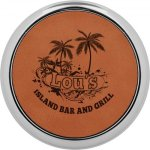 Leatherette Round Coaster with Silver Edge -Rawhide  Employee Awards