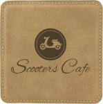 Leatherette Square Coaster -Light Brown Employee Awards