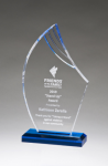 Flame Series Clear Acrylic with Blue Accents Employee Awards