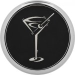 Leatherette Round Coaster with Silver Edge -Black  Kitchen Gifts
