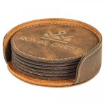 Leatherette Round Coaster Set -Rustic/Gold Kitchen Gifts