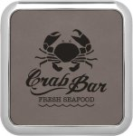 Leatherette Square Coaster with Silver Edge -Gray  Kitchen Gifts