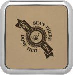 Leatherette Square Coaster with Silver Edge -Light Brown  Kitchen Gifts