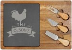 Rectangle Cheese Set with Three Tools - Acacia Wood/Slate Kitchen Gifts