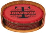 Leatherette Round Coaster Set-Red Kitchen Gifts