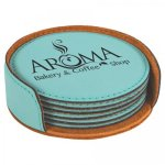 Leatherette Round Coaster Set -Teal Kitchen Gifts