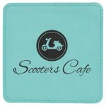 Leatherette Square Coaster -Teal Kitchen Gifts