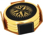 Leatherette Round Coaster Set with Gold Edge -Black  Kitchen Gifts