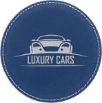 Leatherette Round Coaster -Blue/Silver Kitchen Gifts