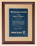 Cherry Finish Wood Plaque with Florentine Plate Marble Awards