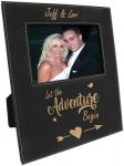 Leatherette Photo Frame with Large Engraving Area -Black/Gold Misc. Gift Awards