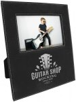 Leatherette Photo Frame with Large Engraving Area -Black/Silver Misc. Gift Awards