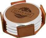 Leatherette Round Coaster Set with Silver Edge -Dark Brown  Misc. Gift Awards