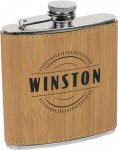 Leatherette Flask -Bamboo Misc. Gift Awards