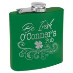 Powder Coated Stainless Steel Flask -Green Misc. Gift Awards