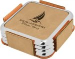 Leatherette Square Coaster Set with Silver Edge -Light Brown  Misc. Gift Awards
