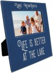 Leatherette Photo Frame with Large Engraving Area -Blue/Silver Misc. Gift Awards
