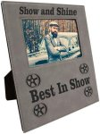 Leatherette Photo Frame with Large Engraving Area- Gray Misc. Gift Awards