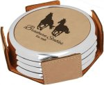 Leatherette Round Coaster Set with Silver Edge -Light Brown Misc. Gift Awards