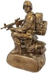 Military Resin Antique Gold-Kneeling with Sandbags Misc. Resin Trophy Awards