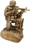 Military Resin Antique Gold-Kneeling in Grass Misc. Resin Trophy Awards