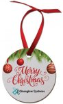 Round White Textured Ornament with Red Ribbon Ornaments