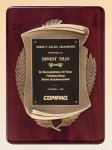 Rosewood Piano Finish Plaque with Antique Bronze Casting Religious Awards