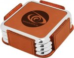 Leatherette Square Coaster Set with Silver Edge -Rawhide Sales Awards