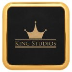 Leatherette Square Coaster with Gold Edge -Black Sales Awards