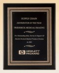 Black Piano Finish Plaque with Gold and Black Embossed Frame Sales Awards