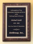 Walnut Stained Piano Finish Plaque with Brass Plate Sales Awards