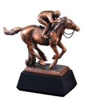 Horse With Jockey Signature Black Resin Trophy Awards