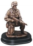 Soldier Kneeling With Rifle Down Signature Black Resin Trophy Awards