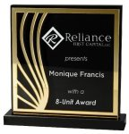 Deep Black Set Off By Gold On Acrylic  With A Black Screened Back Square Rectangle Awards
