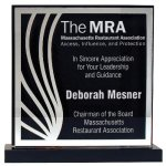 Deep Black Set Off By Silver On Acrylic  With A Black Screened Back Square Rectangle Awards