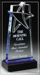 Blue Lasered Star Accent On Base Star Acrylic Awards