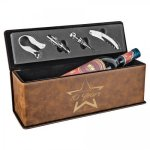 Leatherette Wine Box with Tools -Rustic/Gold Wine Gifts