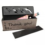 Leatherette Single Wine Box with Tools -Gray Wine Gifts